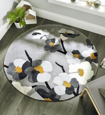 Blossom Round Rug Grey
