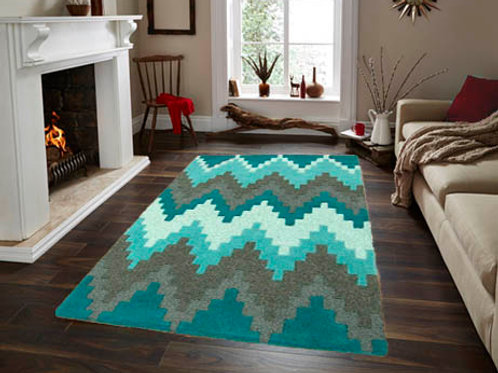 Matrix Block Modern Rug Blue