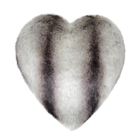 Grey Chinchilla Faux Fur Heart Cushion
