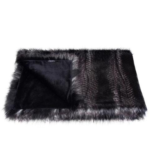 Black Quail Faux Fur Throw