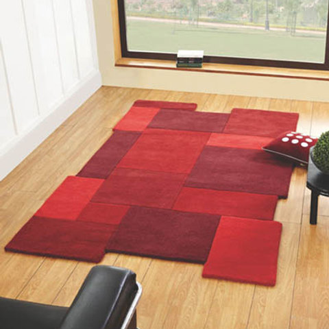 Abstract Rug Red