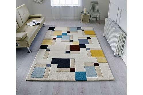 Blue and Ochre Abstract Rug
