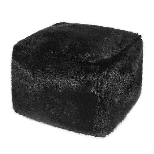 Jet Faux Fur Cube