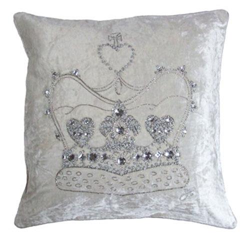 Diamante Velvet Crown Cushion