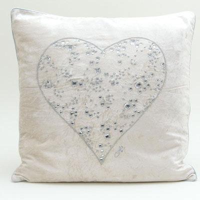 Velvet Diamante Heart Cushion