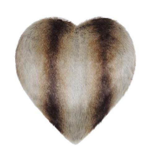 Brown Chinchilla Faux Fur Heart Cushion
