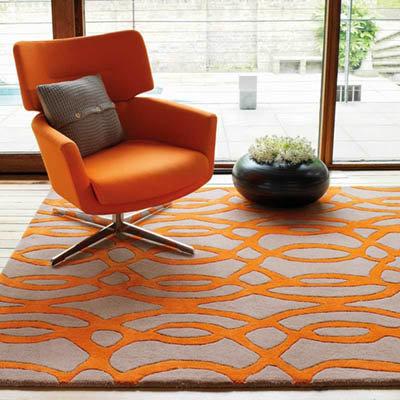 Matrix Wire Modern Rug Orange