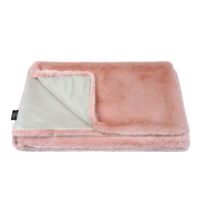 Dusky Pink Faux Fur Throw