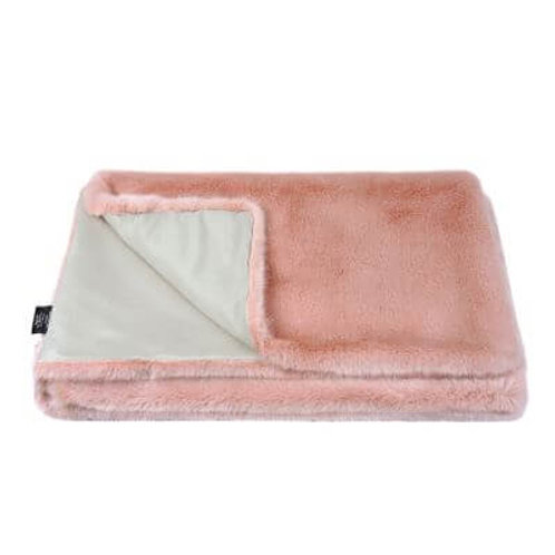 Dusky Pink Faux Fur Throw