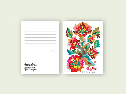 "Postcard ""Pink flowers"""