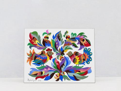 """Art Print on Canvas """"A pair of birds on a Hazel tree"""""""