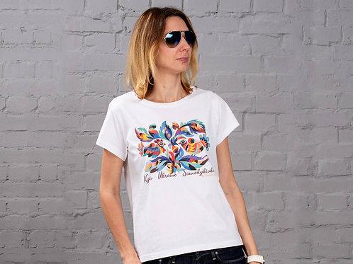 "T-Shirt Woman ""A pair of birds on a Hazel tree"""