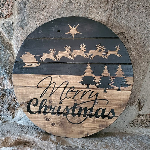 Merry Christmas - crate, circle sign