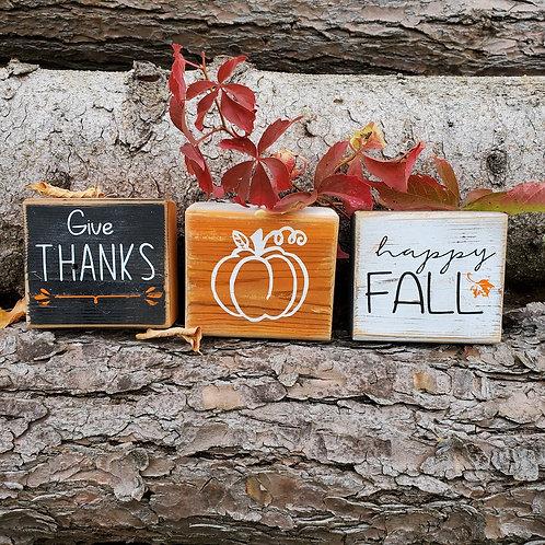 Blocks - Give thanks, pumpkin, happy fall