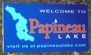 Papineau Lake road sign