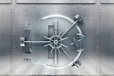 Front  view of light silver bank vault d
