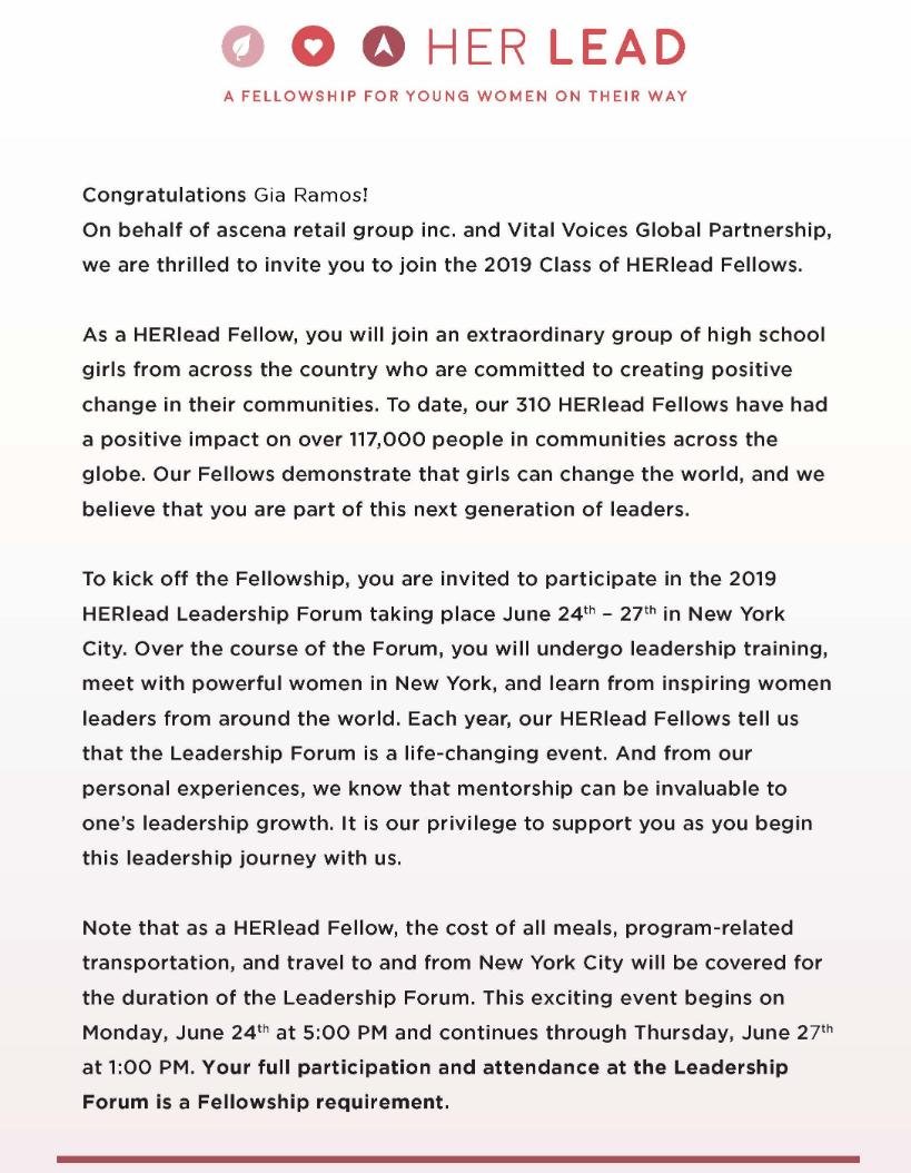 Correo Electrónica Selección como 2019 HERLead Fellow