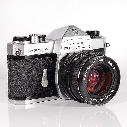 Pentax Spotmatic SP SLR film camera W/Pentacon Auto 28mm F2.8 Lens