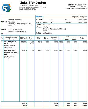 sleek bill invoice format