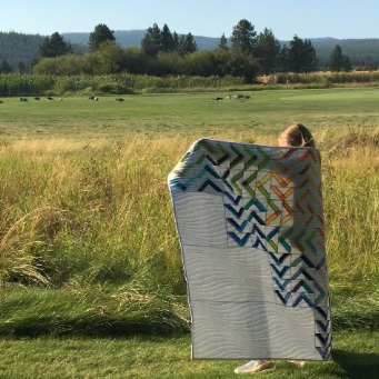 Geometric Rainbow Quilt - Ombre Arrows