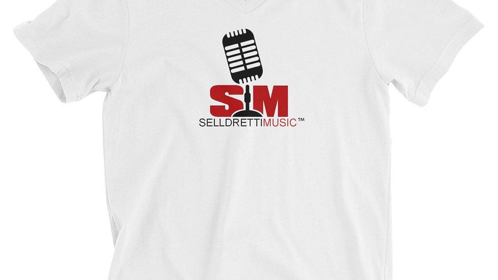Selldretti Music Unisex Short Sleeve V-Neck T-Shirt (White)