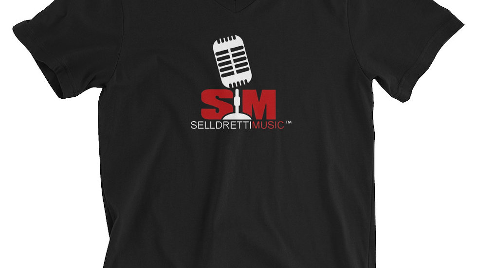 Selldretti Music Unisex Short Sleeve V-Neck T-Shirt (Black)