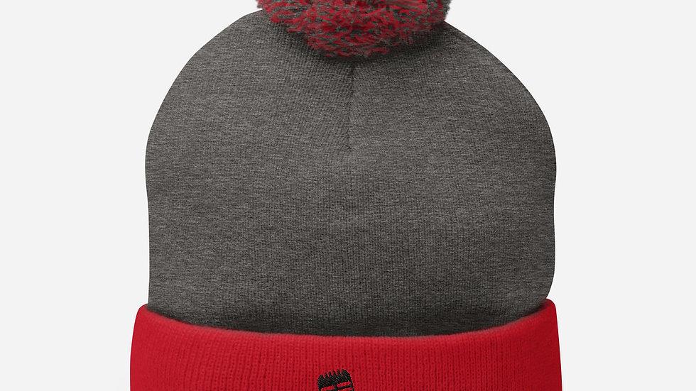 Selldretti Music Pom-Pom Beanie (Red/Grey)