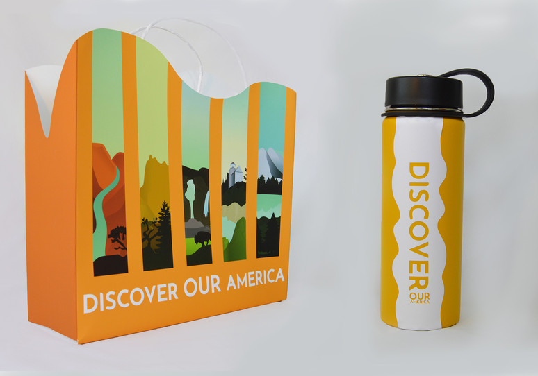 National Park Service Water Bottle and Shopping Bag Packaging