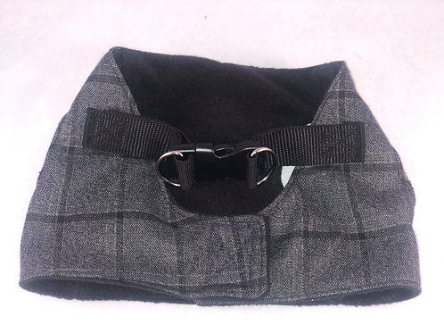 Grey Check with Blue Fleece Harness