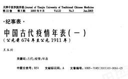 中國古代疫情年表