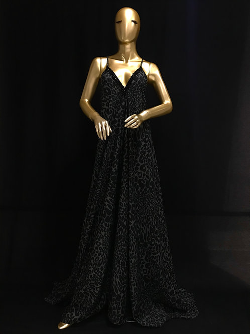 Loose Black Leopard Print Dress