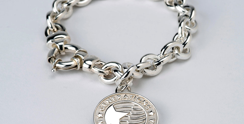"1"" Sterling Silver Family Generations Charm with Bracelet"