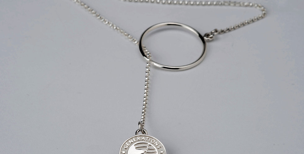 """3/4"""" Sterling Silver Family Generations Charm Lasso Necklace"""