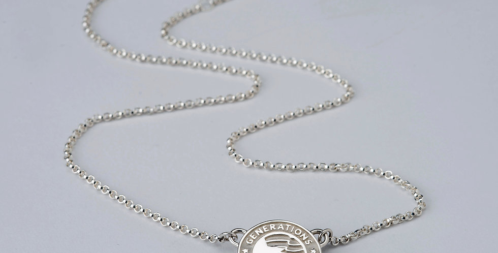 """3/4"""" Sterling Silver Family Generations Charm Necklace"""