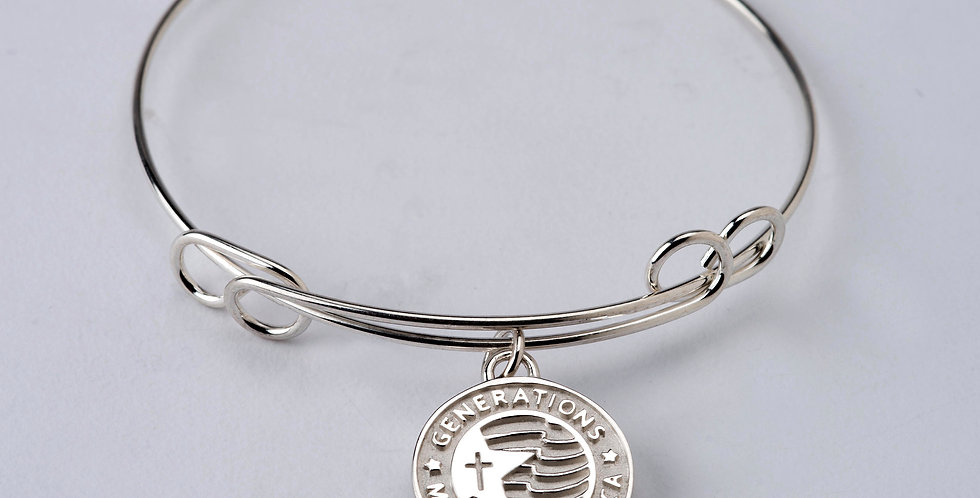 "3/4"" Sterling Silver Generations Cross Charm Bangle"