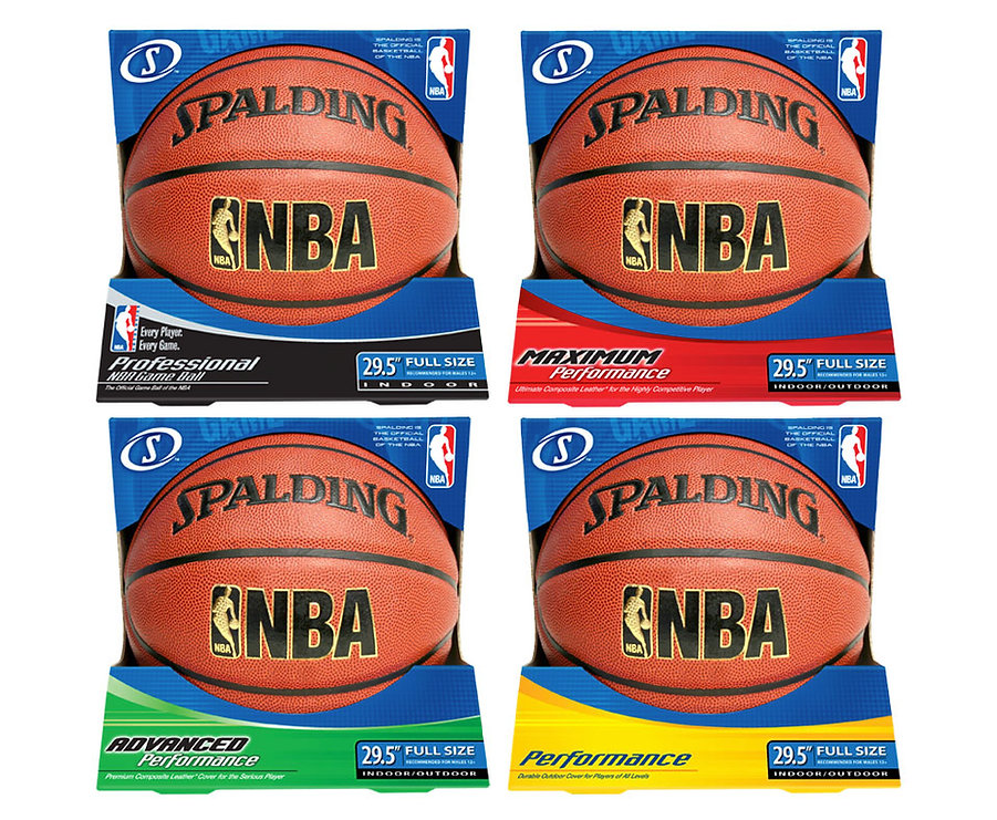 Line of Spalding Basketball Packaging