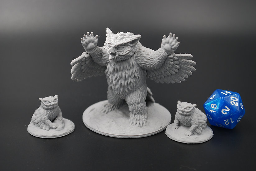 Owlbear and Cubs Miniatures