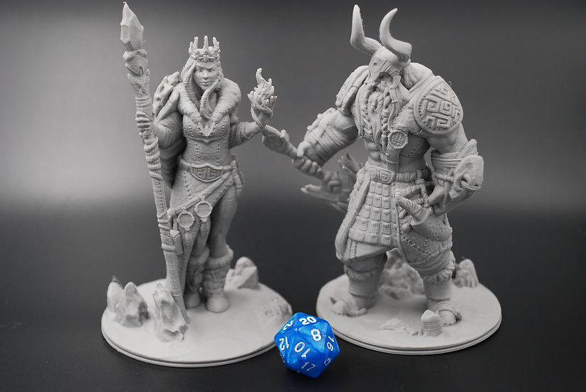 Frost Giant Male and Female Miniatures Set