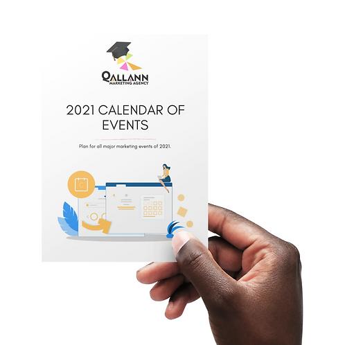 2021 Calendar of Events & Holidays