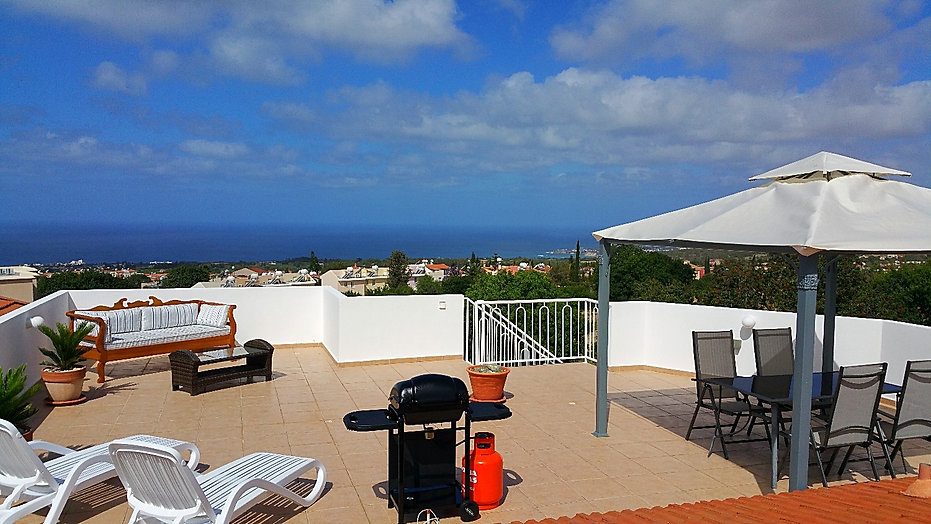 private roof terrace, sea view, relaxing, luxury, mountain view, bbq, gazebo, sunbeds, outdoor dining, gazebo, tala, paphos, village, cyprus, self catering, apartment, holiday let