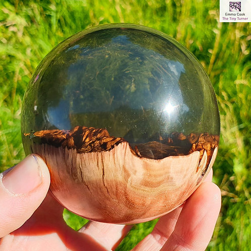 *SLIGHT FLAW* Hand-Turned Resin/Coolibah Burr Sphere - Clear Smokey Grey Resin