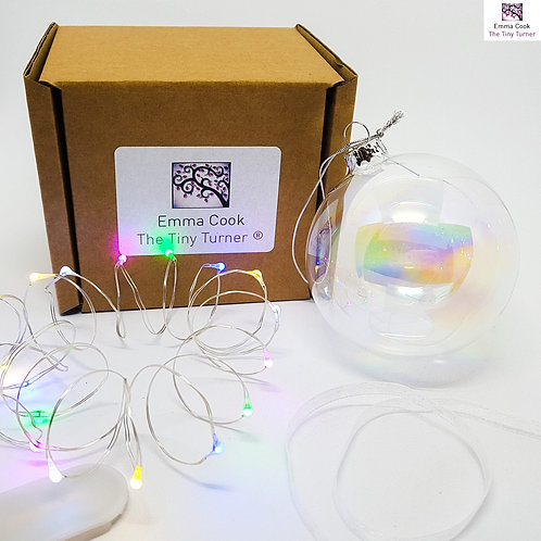 DIY Bauble Kit for Woodturners (Silver Wire; Multicoloured LEDs)