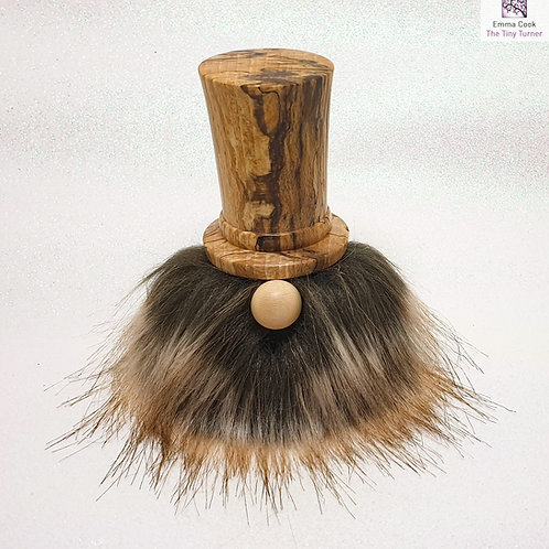 Hand-Turned 'Dapper Chap' Gonk with Spalted Beech Hat & Brown/Fawn Beard