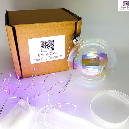 DIY Bauble Kit for Woodturners (Silver Wire; Pink LEDs)