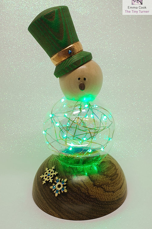 Snowman Ornament with Green LED Fairy Lights on a Zebrano Base