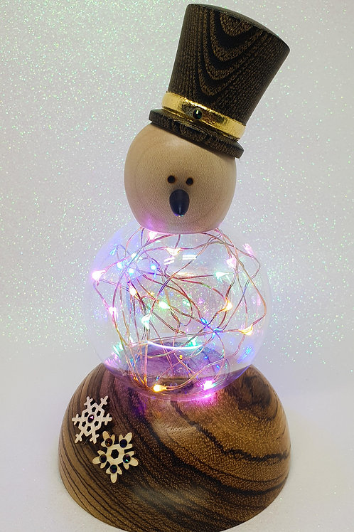 Snowman Ornament with Multicolour LEDs on a Zebrano Base