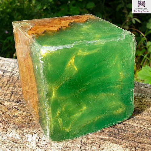 "3"" Apple Green Resin with Gold Shimmer and Coolibah Burr Hybrid Sphere"