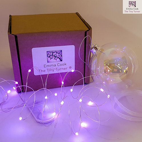 DIY Bauble Kit for Woodturners (Silver Wire; Purple LEDs)