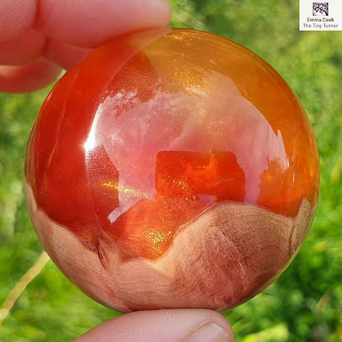 Mini Hand-Turned Resin/Burr Sphere - Yellow & Red Resins with Gold Shimmer