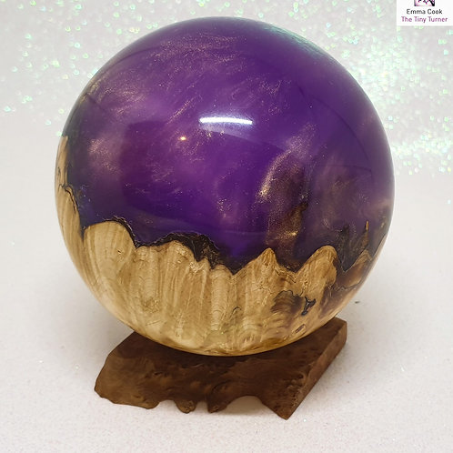 *SECOND* Hand-Turned Resin/Chestnut Burr Sphere - Lilac with Bronze Shimmer